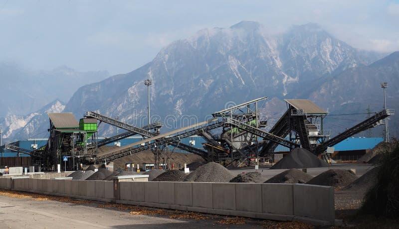 有几堆的传送带石渣在阿尔卑斯下的一棵植物中 库存图片