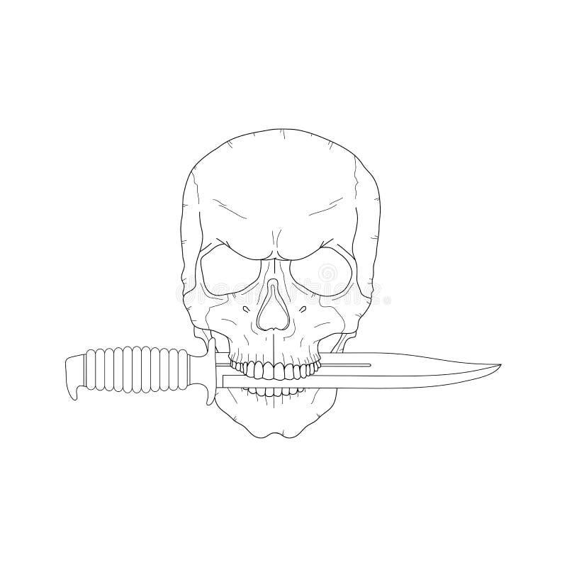 有刀子的海盗头骨 皇族释放例证