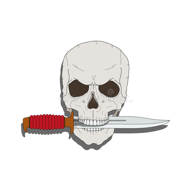 有刀子的海盗头骨 库存例证