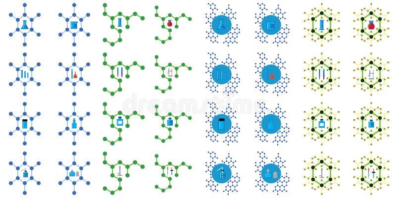 有分子结构的化学实验室仪器 皇族释放例证