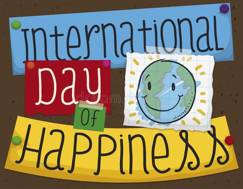 有切口的委员会和微笑的地球乱画为幸福的天,传染媒介例证 库存例证