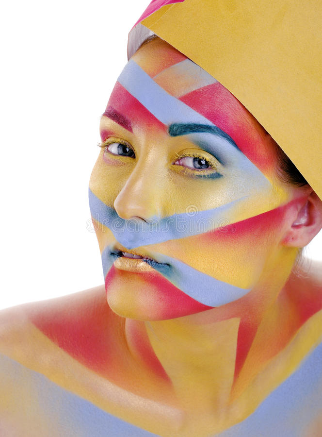 有创造性的几何的妇女组成,红色,黄色,色的蓝色特写镜头微笑,明亮的概念 图库摄影