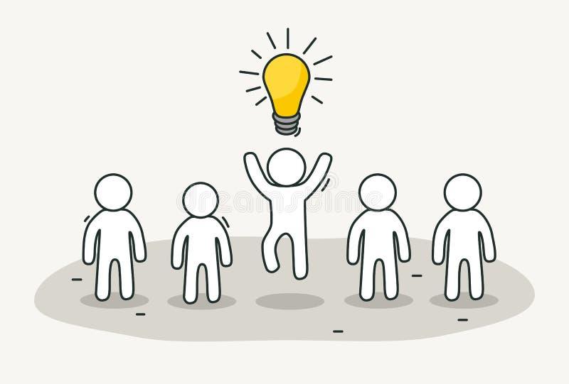 有创造性的领导的小白人 创造性的想法,启发概念 手拉的动画片或剪影图片