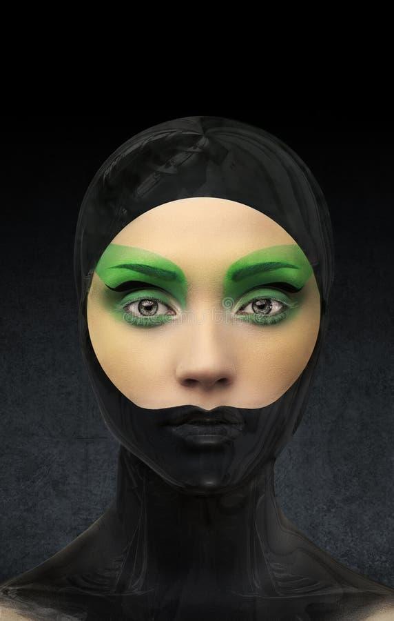 有创造性绿色的女孩和黑和绿色组成 图库摄影