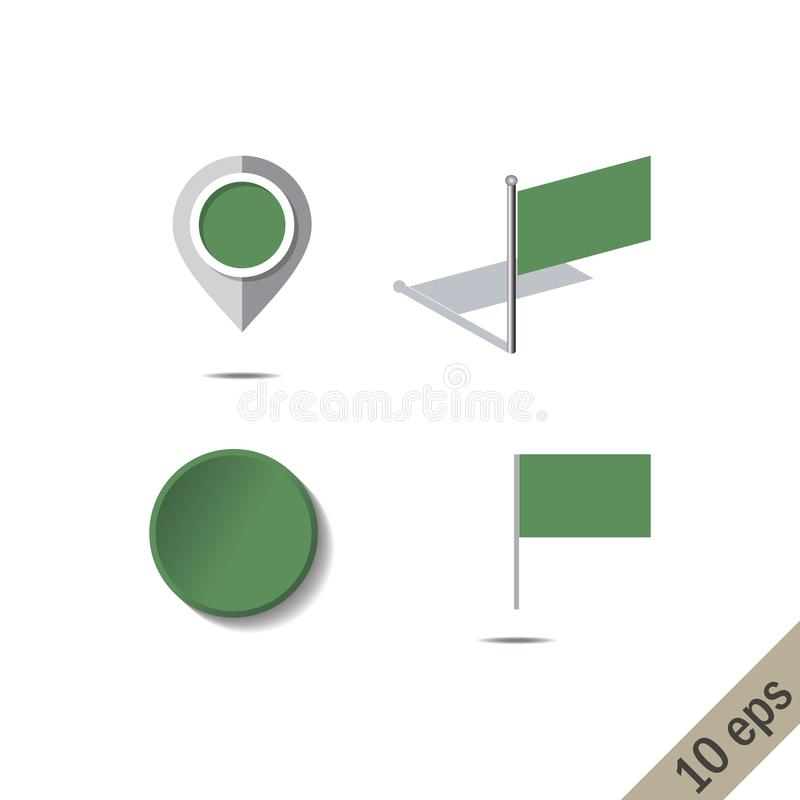 有利比亚的旗子的地图别针 库存例证