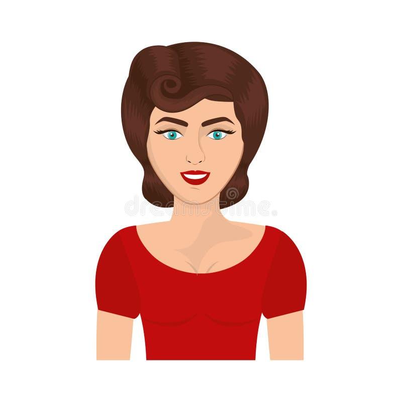 有别针的半身体妇女打旋发型 向量例证