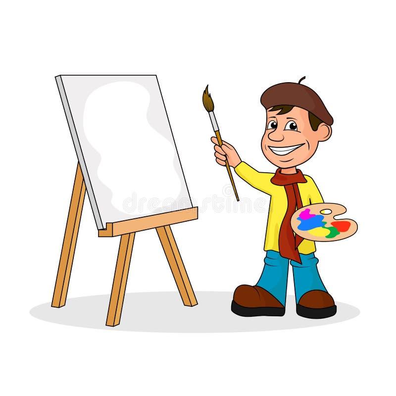 有刷子和油漆的Ð ¡ heerful艺术家 皇族释放例证