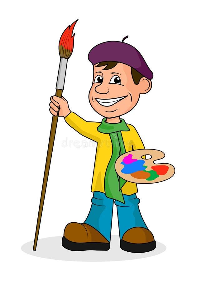 有刷子和油漆的Ð ¡ heerful艺术家 库存例证