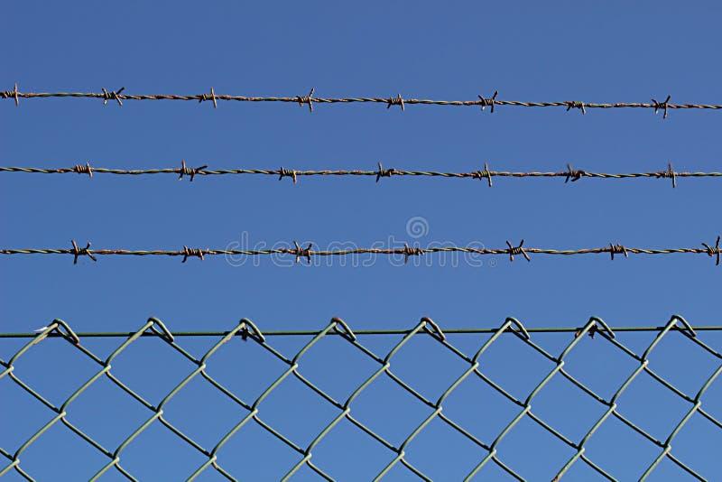 有刺的金属线和篱芭反对蓝天1 免版税库存图片