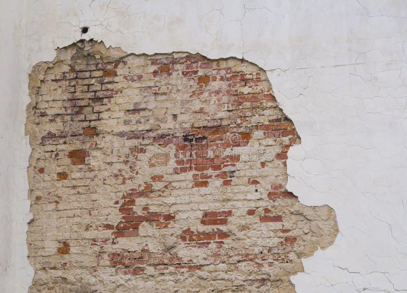 有削皮膏药的白色破裂的墙壁与红砖难看的东西vi 库存照片