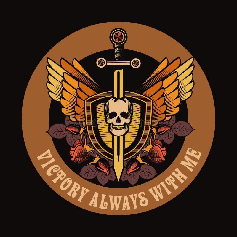 有剑和翼象征的葡萄酒头骨 向量例证