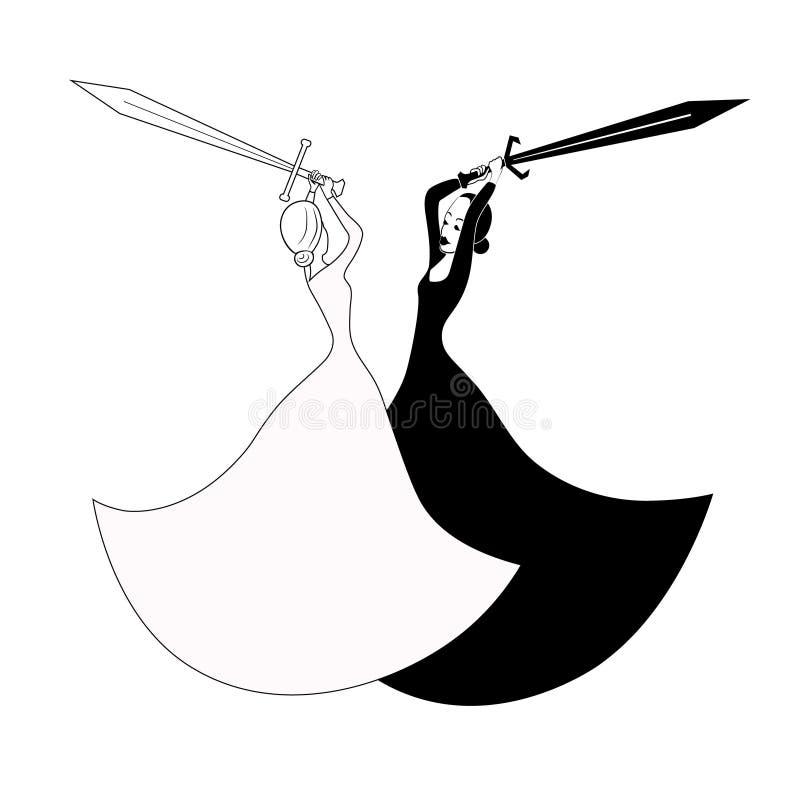有剑战斗的黑白妇女 传染媒介概述图象 向量例证