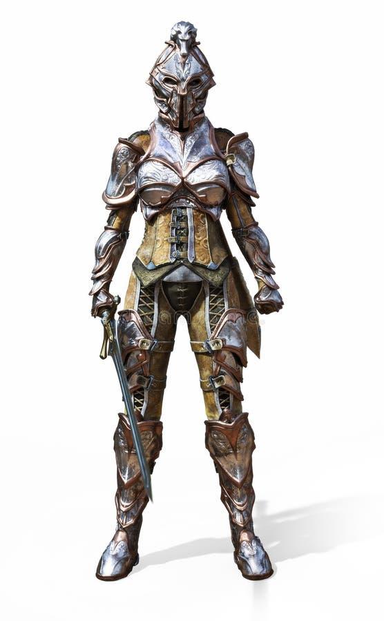 有剑的女性装甲的骑士在被隔绝的白色背景 皇族释放例证