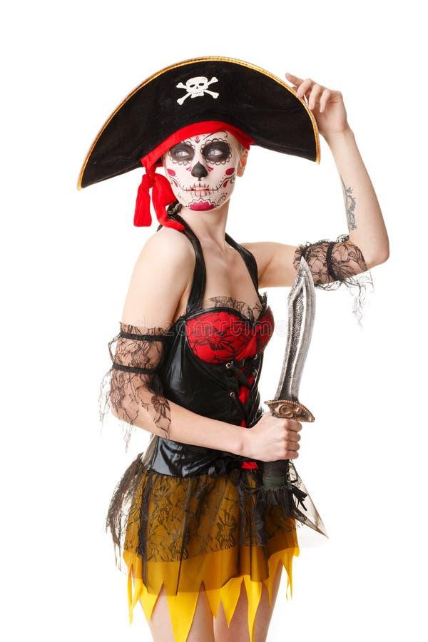 有剑的妇女海盗 服装万圣节 库存照片