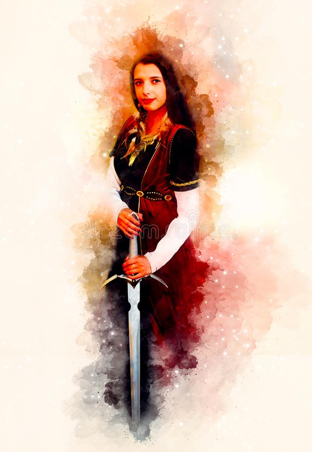 有剑的美丽的妇女在宇宙空间的历史衣物 库存例证