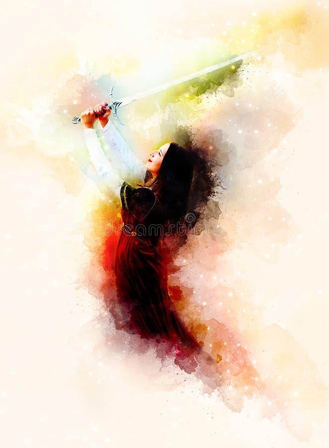 有剑的美丽的妇女在宇宙空间的历史衣物 皇族释放例证