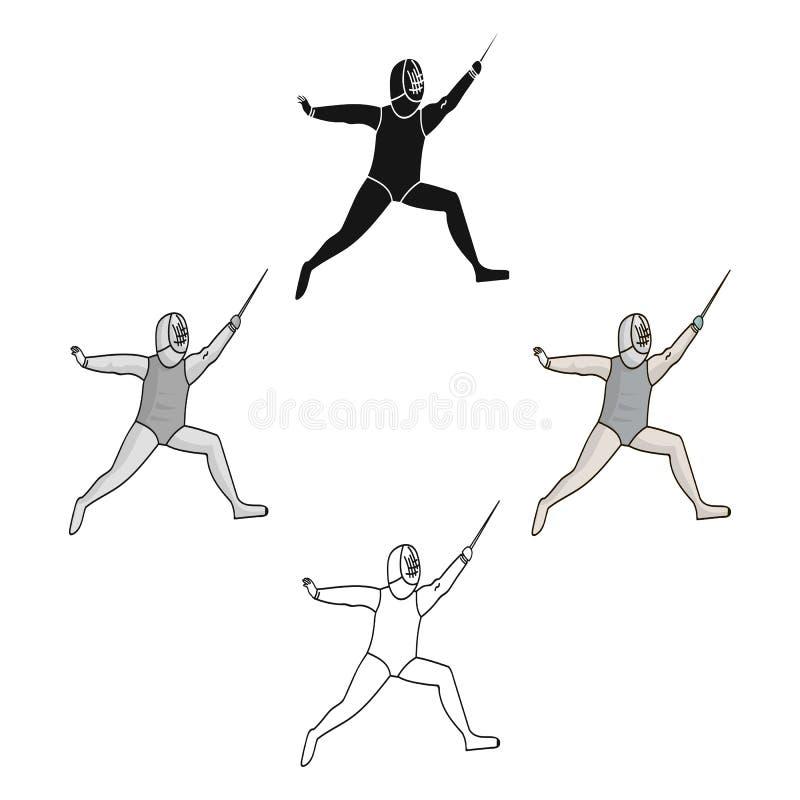 有剑的运动员成套装备 剑术竞争 奥林匹克体育在动画片样式传染媒介标志库存选拔象 库存例证