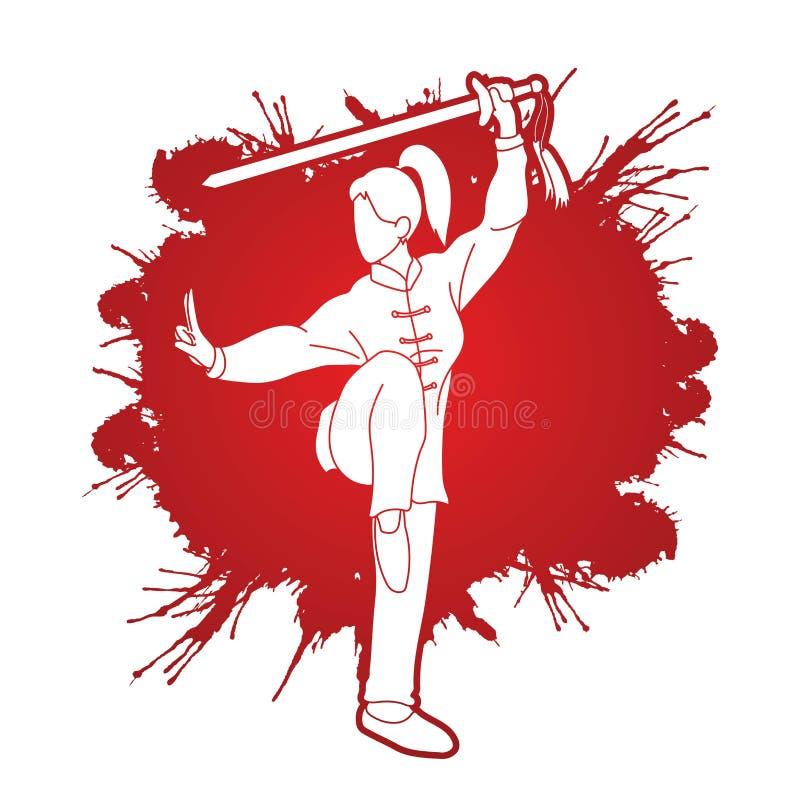 有剑行动的,功夫姿势妇女 向量例证