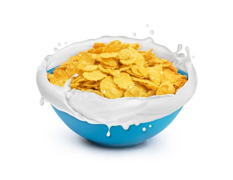 有剥落的碗用牛奶在白色飞溅 库存图片