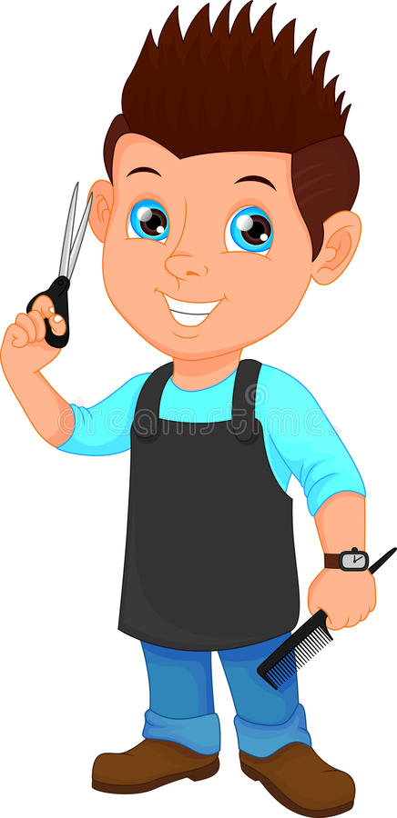 有剪刀和梳子的理发师男孩 向量例证