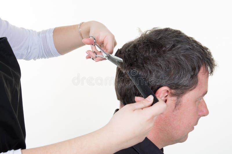 有剪刀的女性美发师切口人头发在理发沙龙 免版税库存照片
