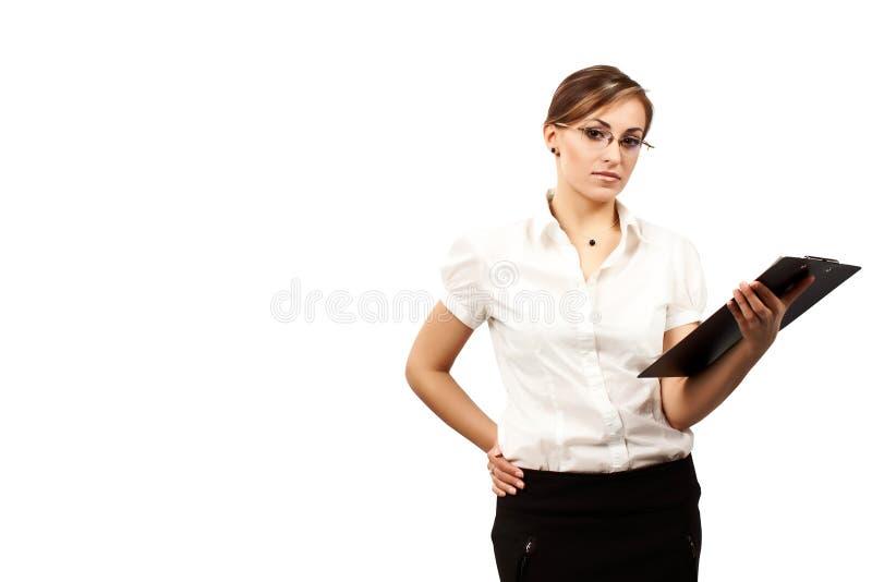 有剪贴板的女实业家 库存照片