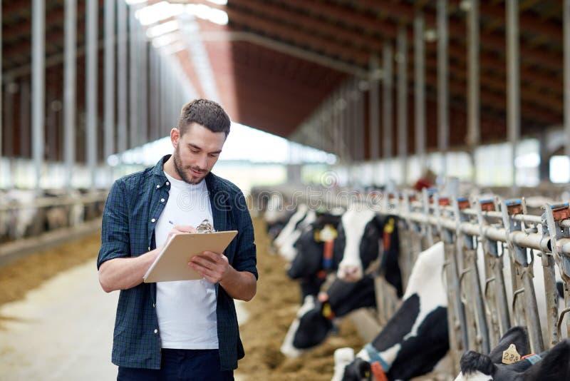 有剪贴板和母牛的农夫在农场的牛棚 图库摄影