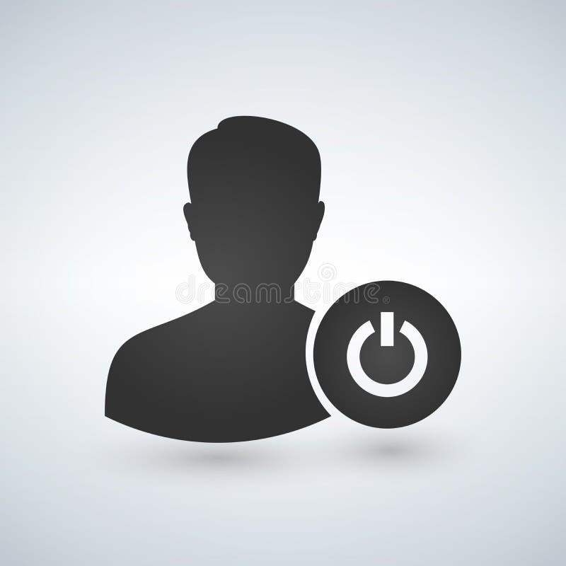 有力量按钮象的用户具体化 在  剪影标志 向量 库存例证