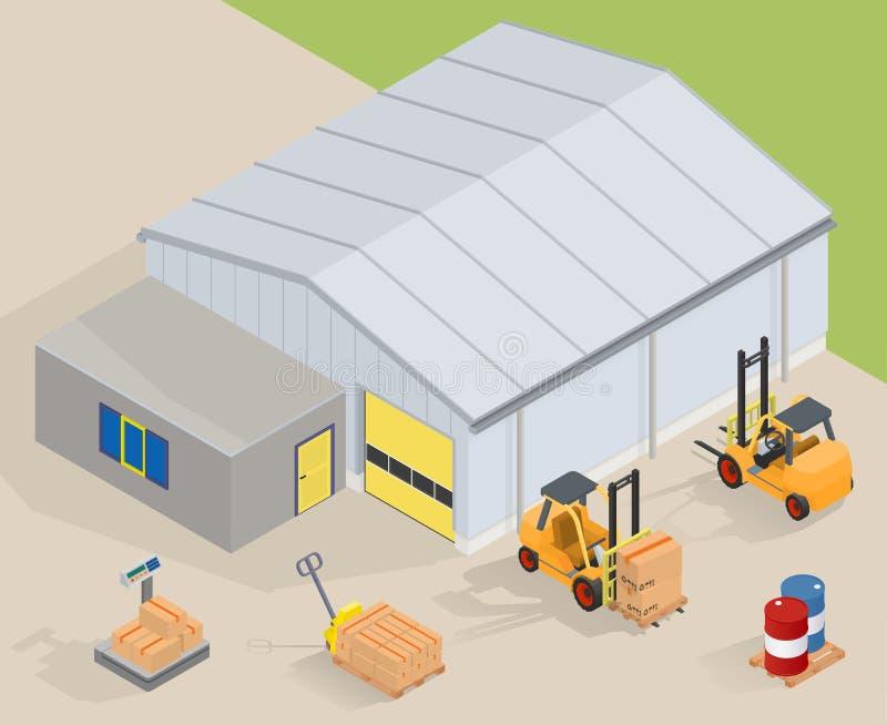 有办公室的大仓库 近的铲车、码垛车、标度和桶 皇族释放例证