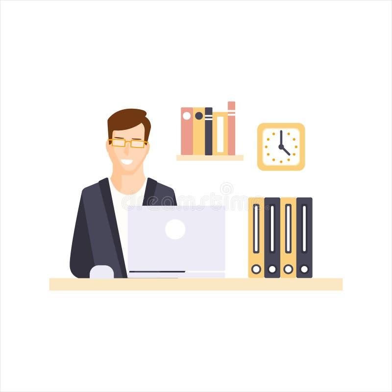 有办公室的小卧室的愉快的人办公室工作者他的每日定期情况漫画人物图片