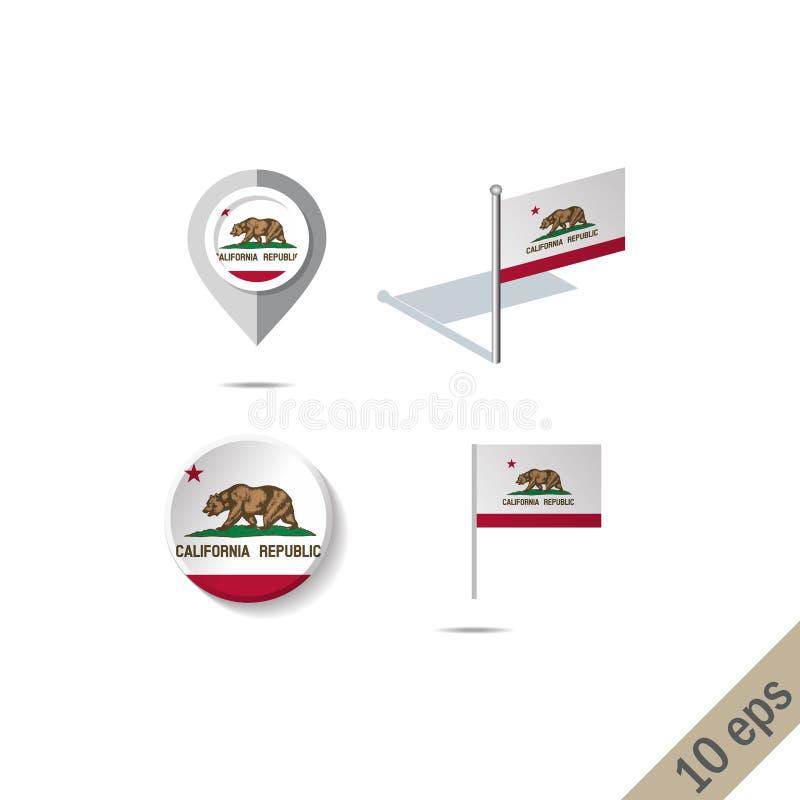 有加利福尼亚旗子的-传染媒介例证地图别针 库存例证