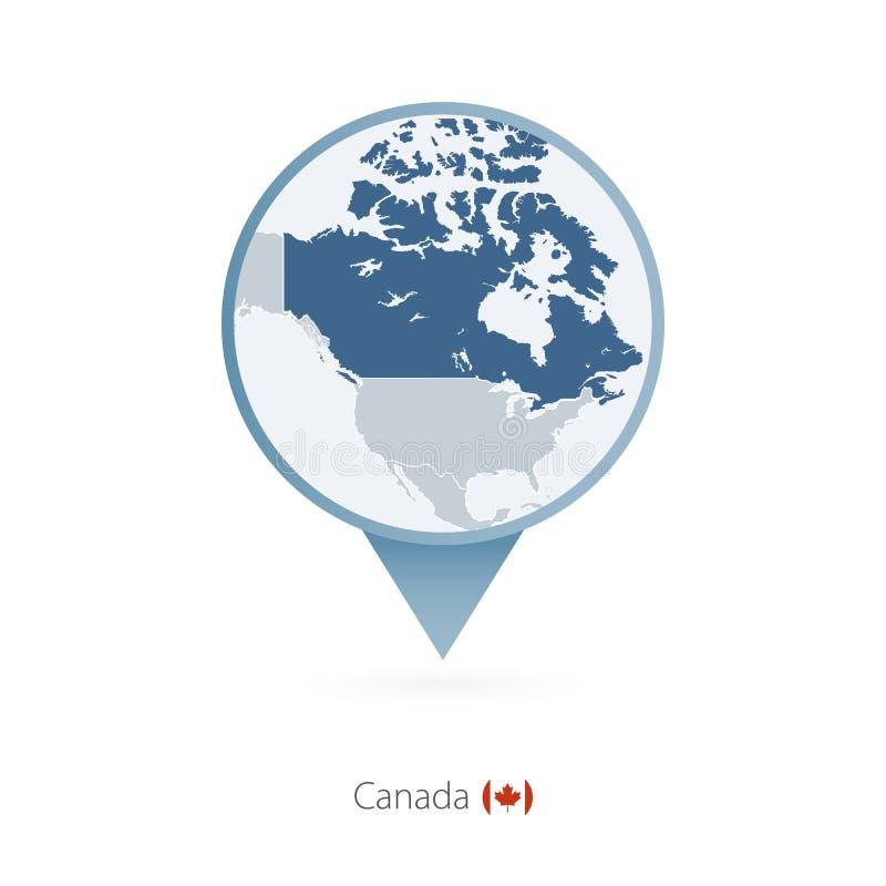 有加拿大和邻国详细的地图的地图别针  皇族释放例证