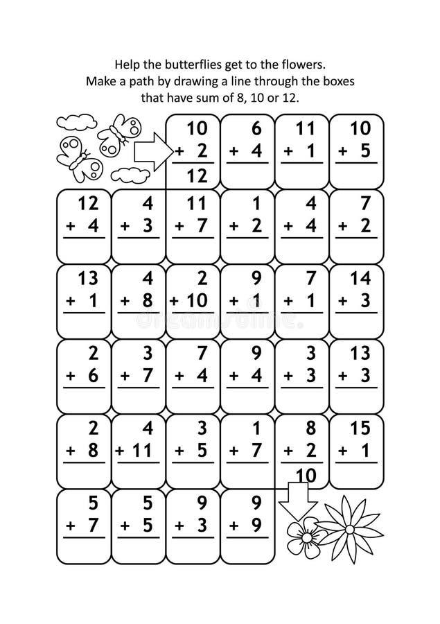有加法事实的算术迷宫由20决定的数字的 皇族释放例证