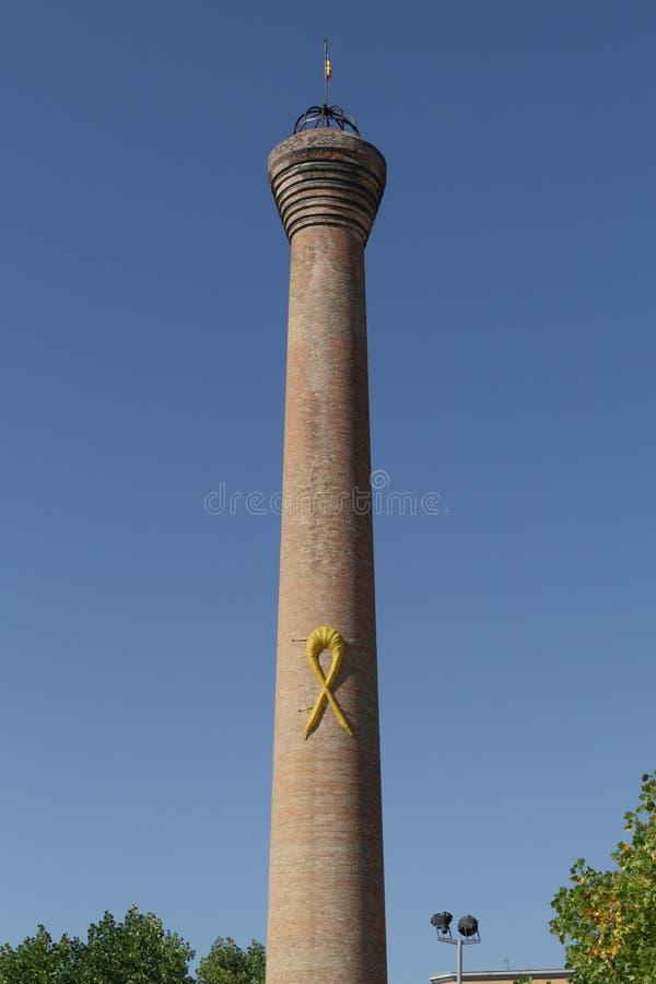 有加泰罗尼亚的辅助部件的烟囱,比克,加泰罗尼亚,西班牙 库存照片