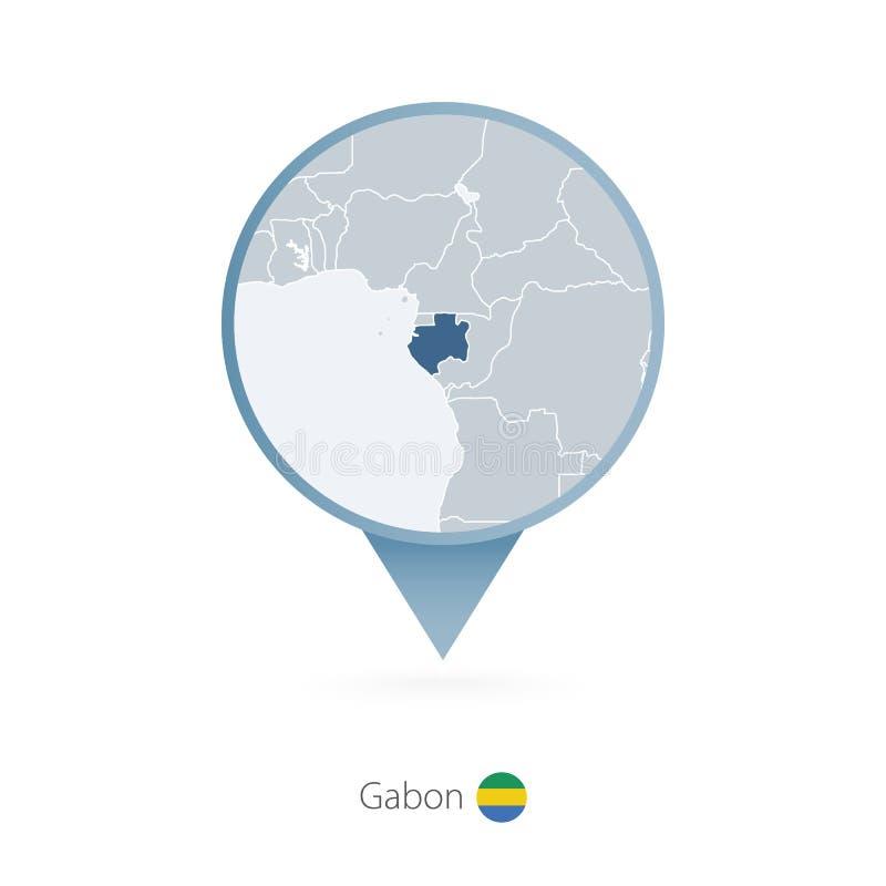 有加蓬和邻国详细的地图的地图别针  皇族释放例证