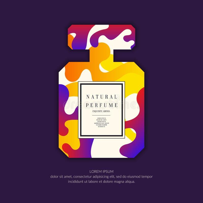 有动态线和波浪的香水瓶 广告和销售芬芳的明亮的现代海报 库存例证