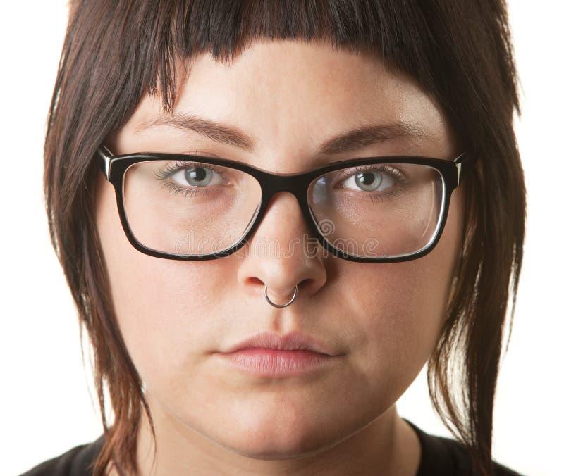 有动物之鼻圈的白女性 免版税库存照片