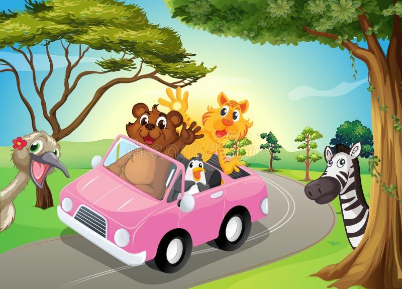 有动物的一辆桃红色汽车 库存例证