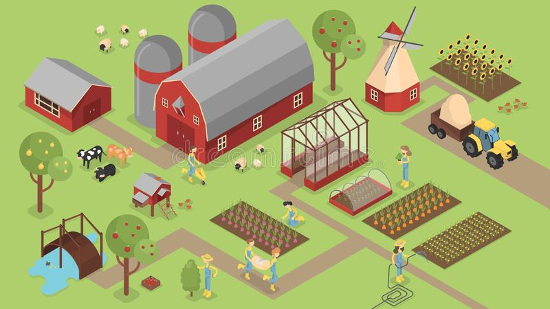 有动物的等量农场 向量例证