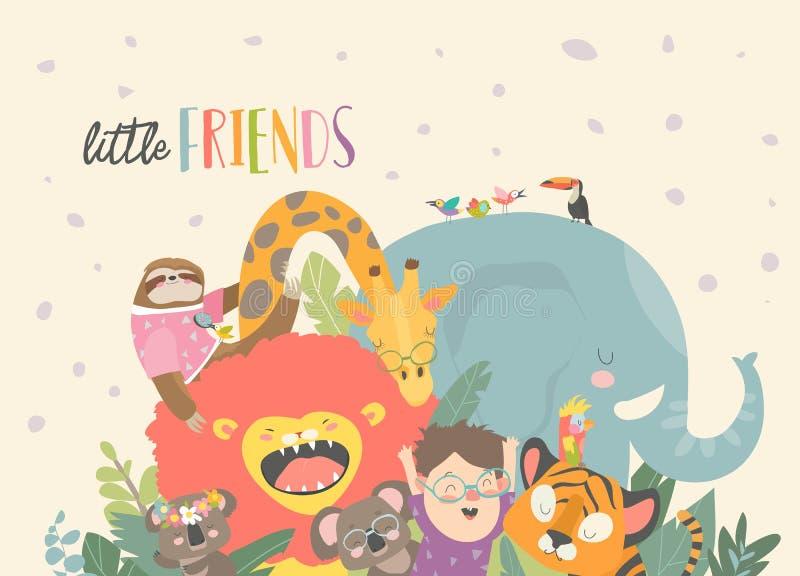 有动画片动物的小男孩 愉快的朋友 库存例证