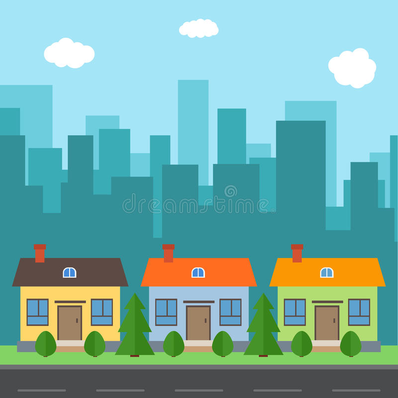 有动画片房子和大厦的传染媒介城市 库存例证