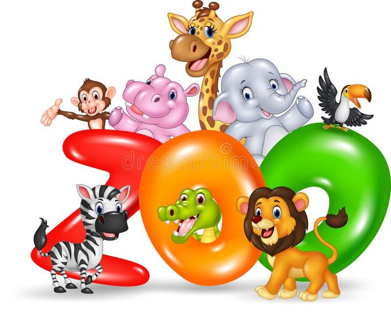 有动画片野生动物的非洲词动物园 向量例证