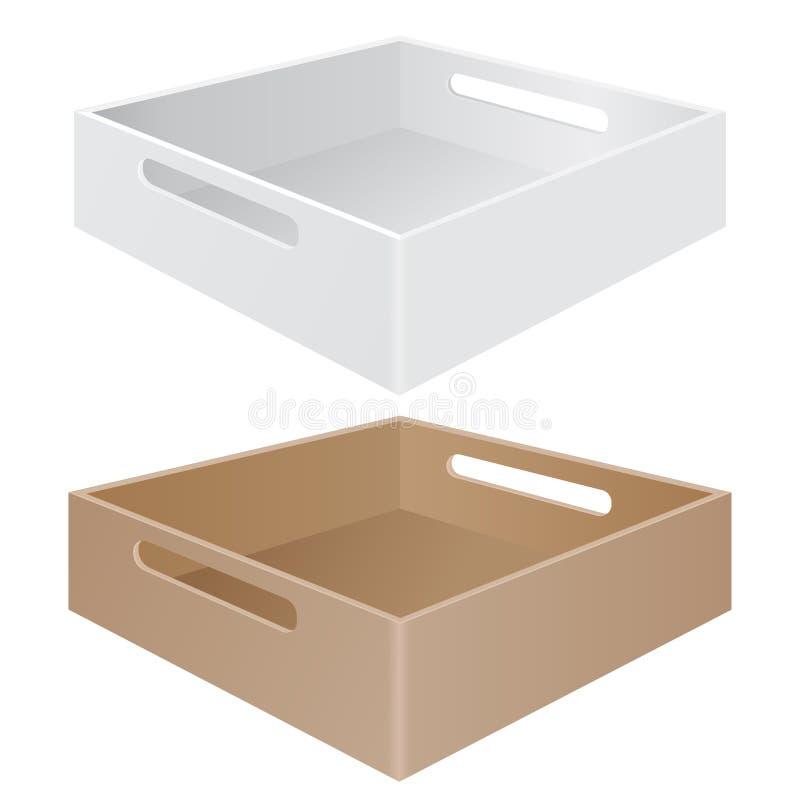 有劫掠把柄的盘子箱子 白色和褐色 库存例证