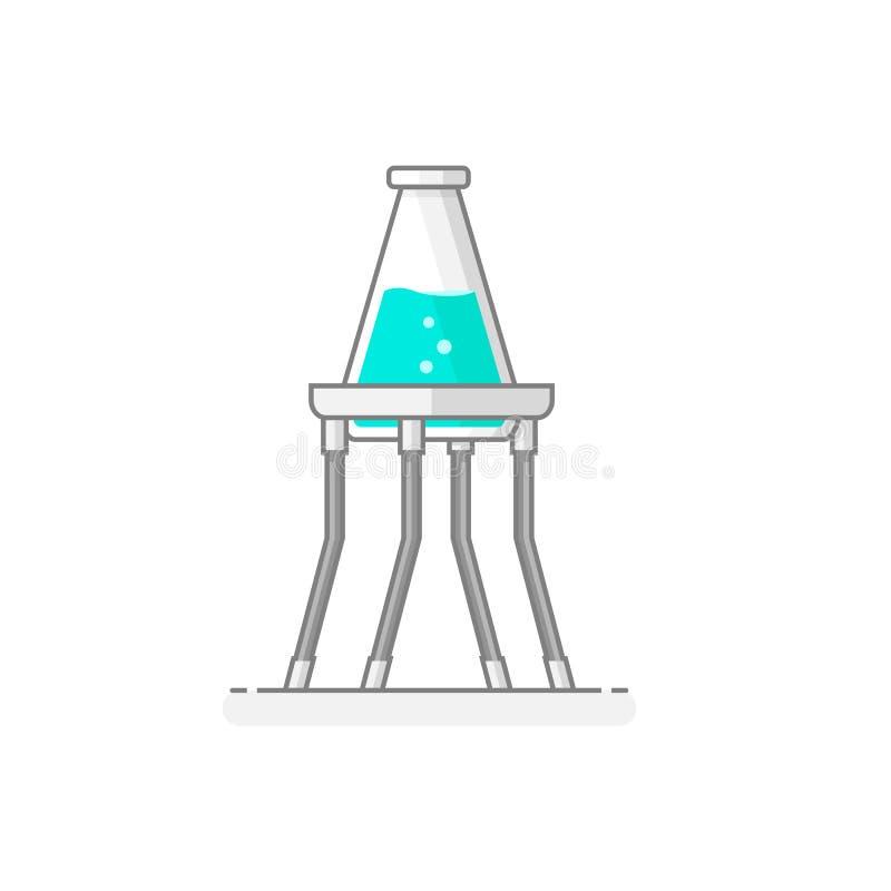 有包含化学制品的锥形烧瓶的科学三脚架 免版税库存图片