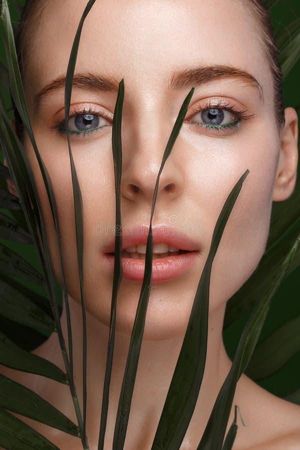 有化妆奶油的美丽的新鲜的女孩在面孔、自然构成和绿色叶子 秀丽表面 免版税库存图片