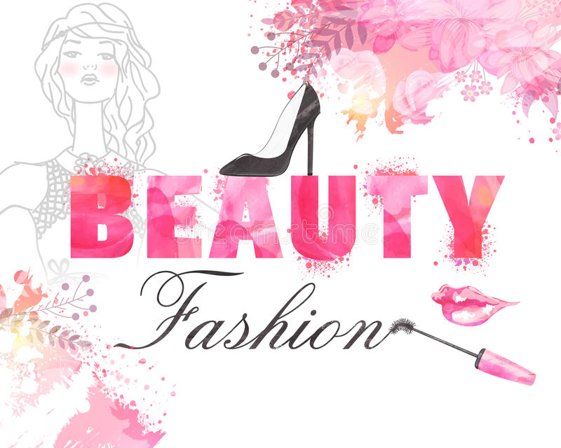有化妆用品和凉鞋的年轻时兴的女孩 向量例证