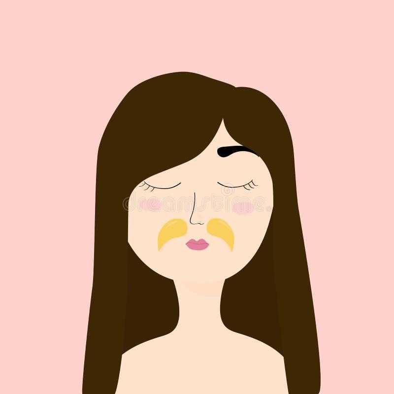 有化妆补丁的少女在嘴唇 有眼睛的女孩关闭了 家庭护理,skincare 向量例证