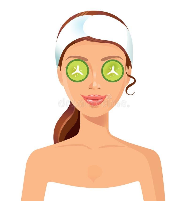 有化妆面具的美丽的妇女在面孔皮肤秀丽概念 皇族释放例证