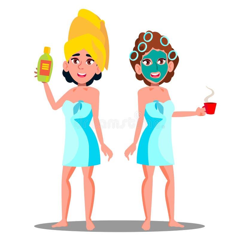 有化妆面具的青少年的女孩在面孔和温泉奶油管手中传染媒介 按钮查出的现有量例证推进s启动妇女 库存例证