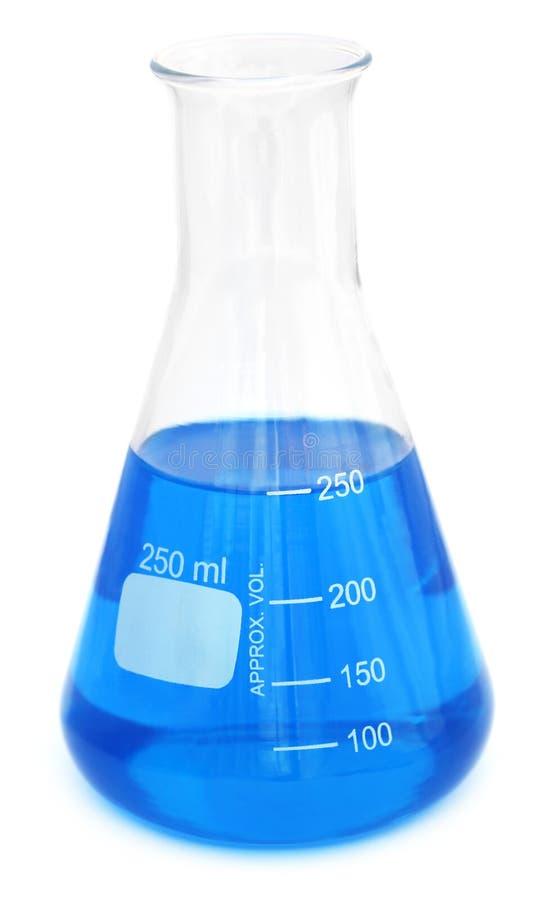 有化学制品的圆锥形烧瓶 库存照片